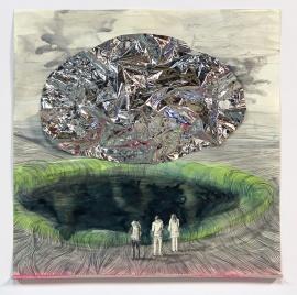 Reflection, 40 x 40 cm, gemengde techniek op papier, 2013